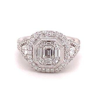 Mosaic Diamond Halo Fashion Ring