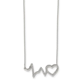 Cubic Zirconia Heartbeat Necklace