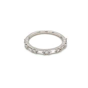 Round & Baguette Diamond Anniversary Stackable Band