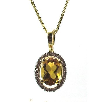 Citrine & Diamond Halo Pendant Necklace