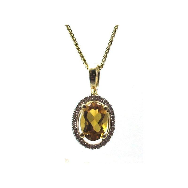 Murphy Pitard Signature Collection Citrine & Diamond Halo Pendant Necklace