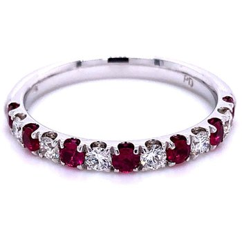 White Gold Diamond and Ruby Anniversary Band