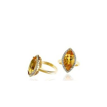 Citrine and Diamond Halo Right Hand Ring