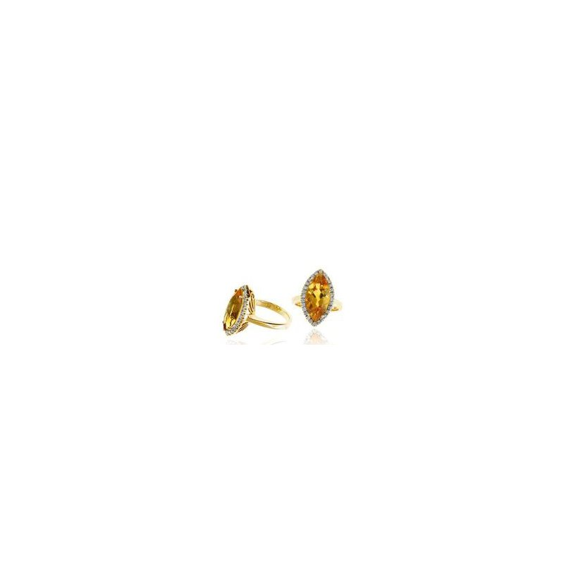 Murphy Pitard Signature Collection Citrine and Diamond Halo Right Hand Ring