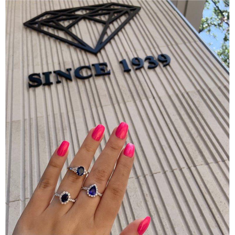 Murphy Pitard Signature Collection Pear Tanzanite Diamond Halo Ring