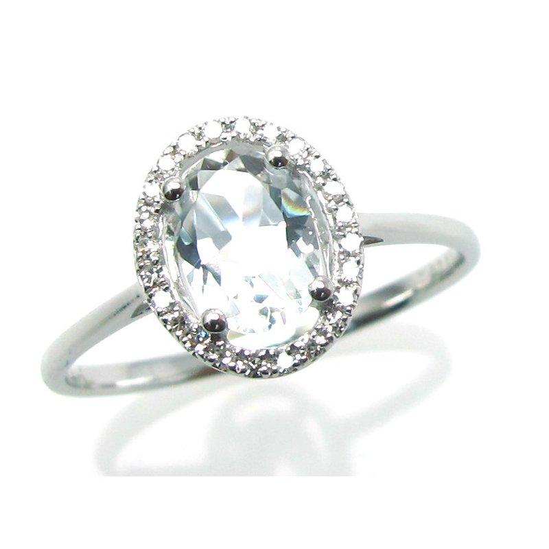 Murphy Pitard Signature Collection White Topaz & Diamond Halo Ring