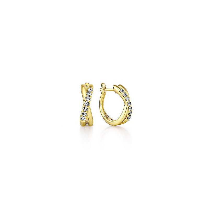 Gabriel & Co. New York Diamond Huggie Twisted Hoops