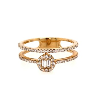Diamond Fashion Split Ring With Straight Band and Halo Ring