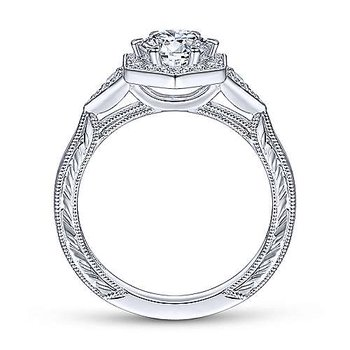 Kiaran Art Deco Halo Diamond Engagement Ring