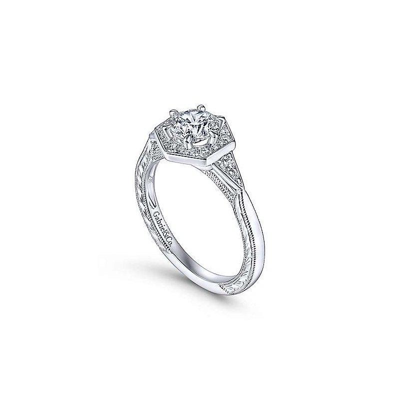Gabriel & Co. New York Kiaran Art Deco Halo Diamond Engagement Ring