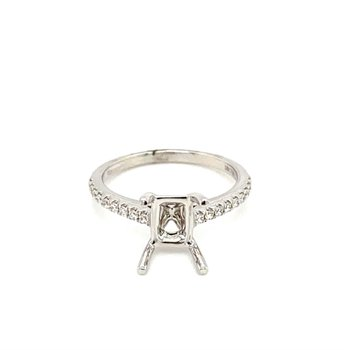 Diamond Accented Emerald Cut Engagement Ring