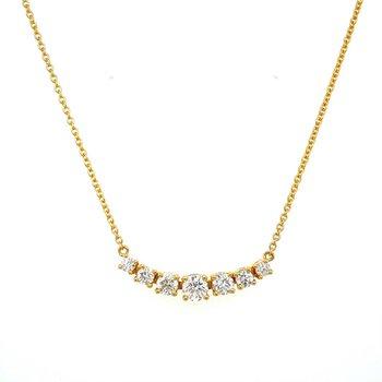 Flexible Graduated Diamond 7 Stone Necklace