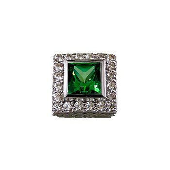 Caerleon 6/6 Princess Green Zirconia Halo Bezel