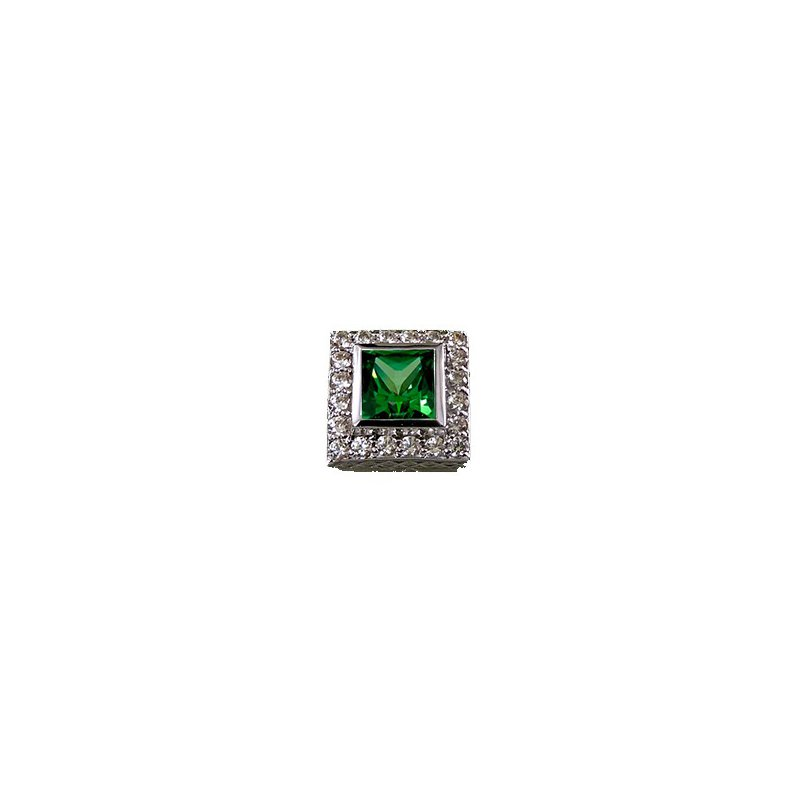 Goldman-Kolber Caerleon 6/6 Princess Green Zirconia Halo Bezel