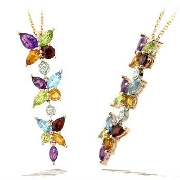 Multi-Color Gemstone Dangle Pendant Necklace