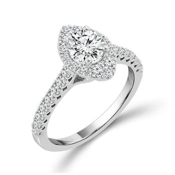 1 1/4 Carats Marquise Halo Diamond Engagement Ring