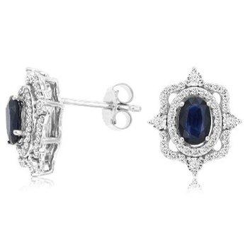 Oval Sapphire & Diamond Vintage Inspired Earrings
