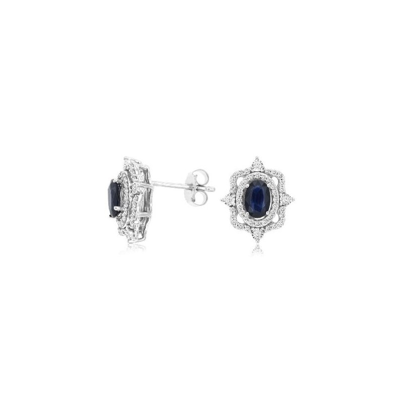 Murphy Pitard Signature Collection Oval Sapphire & Diamond Vintage Inspired Earrings