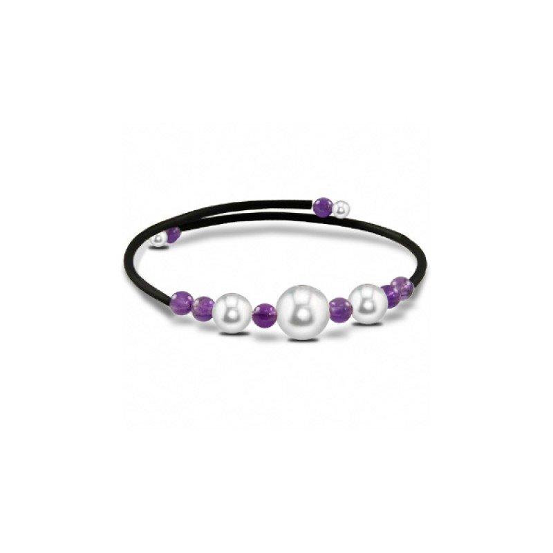 Murphy Pitard Signature Collection Freshwater Pearl & Amethyst Bangle Bracelet