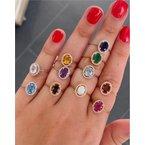 Murphy Pitard Signature Collection Aquamarine & Diamond Halo Ring