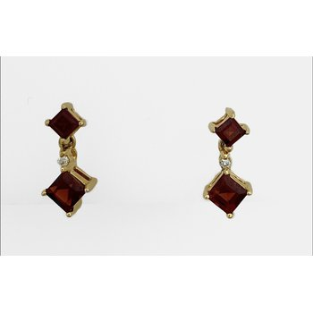 Garnet & Diamond Dangle Earrings
