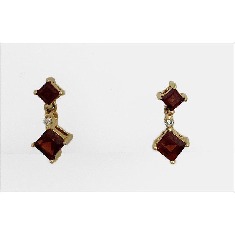 Murphy Pitard Signature Collection Garnet & Diamond Dangle Earrings