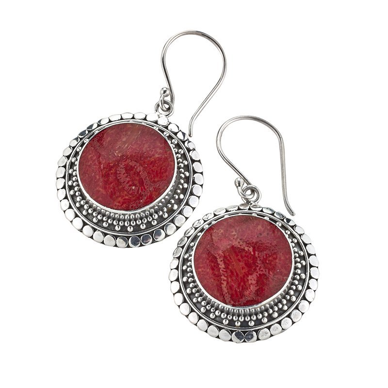 Samuel B. Silver Coral Earrings