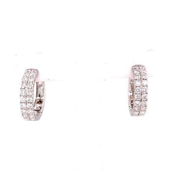White Gold Double Row Diamond Hoop Earrings