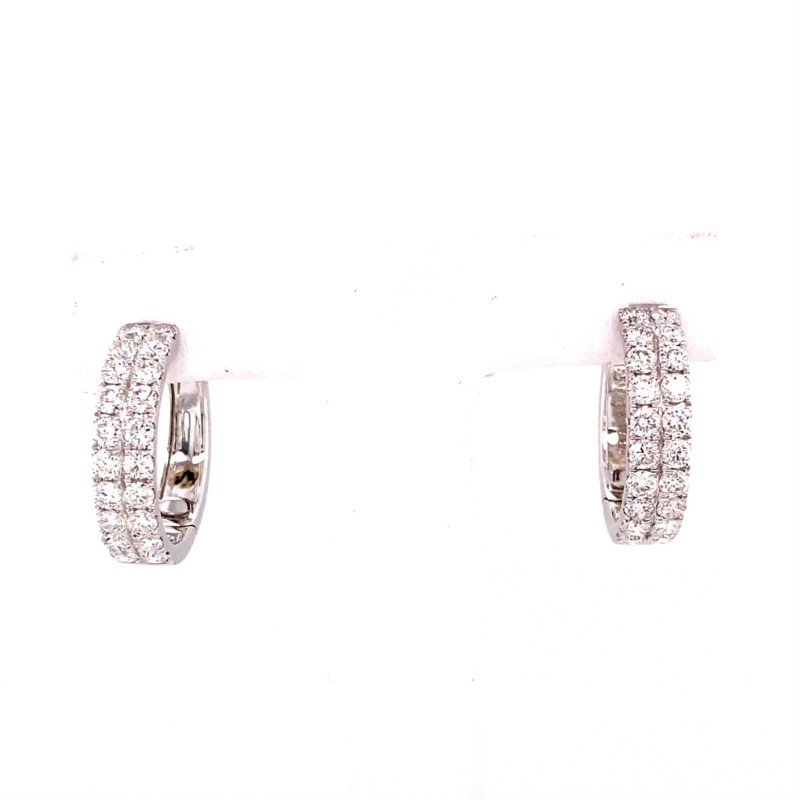 Murphy Pitard Signature Collection White Gold Double Row Diamond Hoop Earrings