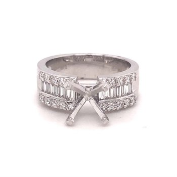 Round Diamond Engagement Ring With Baguette Diamond Accent