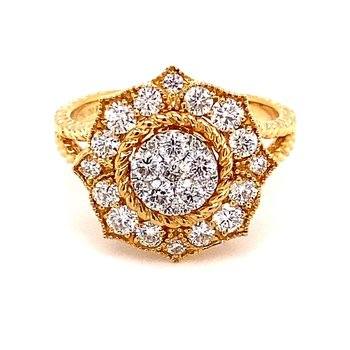 Rope Accented Diamond Cluster Ring