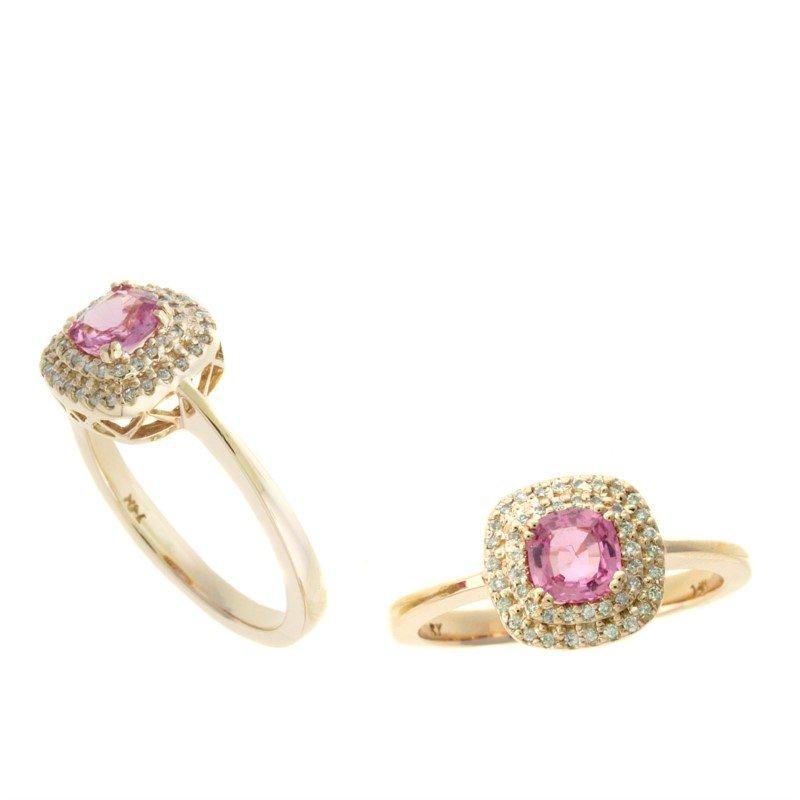 Murphy Pitard Signature Collection Pink Sapphire & Diamond Halo Ring