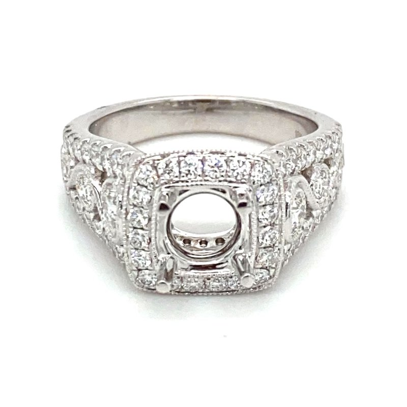 Murphy Pitard Signature Collection Vintage Inspired Diamond Square Halo Engagement Ring