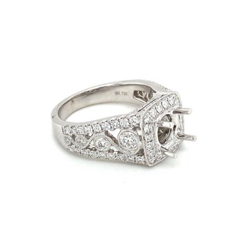 Vintage Inspired Diamond Square Halo Engagement Ring
