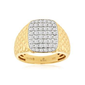 Diamond Pavé Satin Golf Finish 15x13 Millimeter Ring