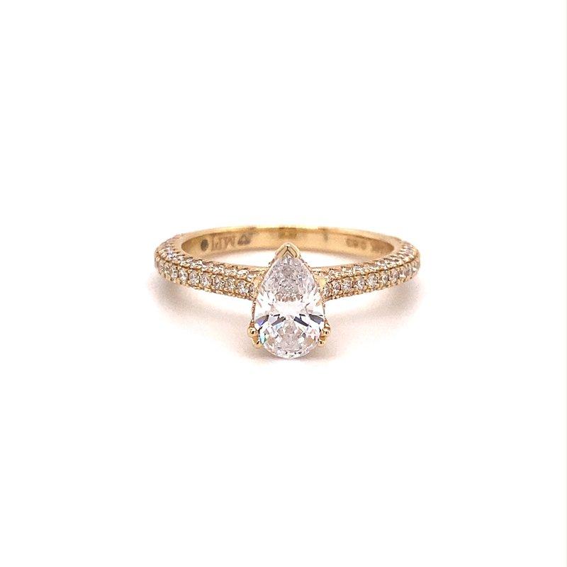 Murphy Pitard Signature Collection Pear Diamond Pavé Hidden Halo Engagement Ring