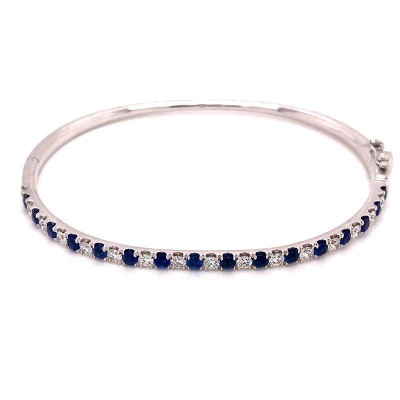 Murphy Pitard Signature Collection Diamond & Sapphire Bangle Hinged Bracelet