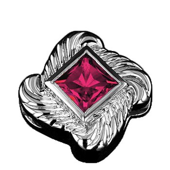 GK Coloures Created Princess Cut Pink Sapphire Slide