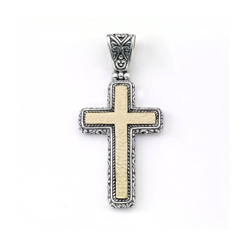 Silver Two Tone Hammered Cross