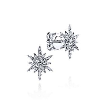 Diamond Elongated Starburts Earrings