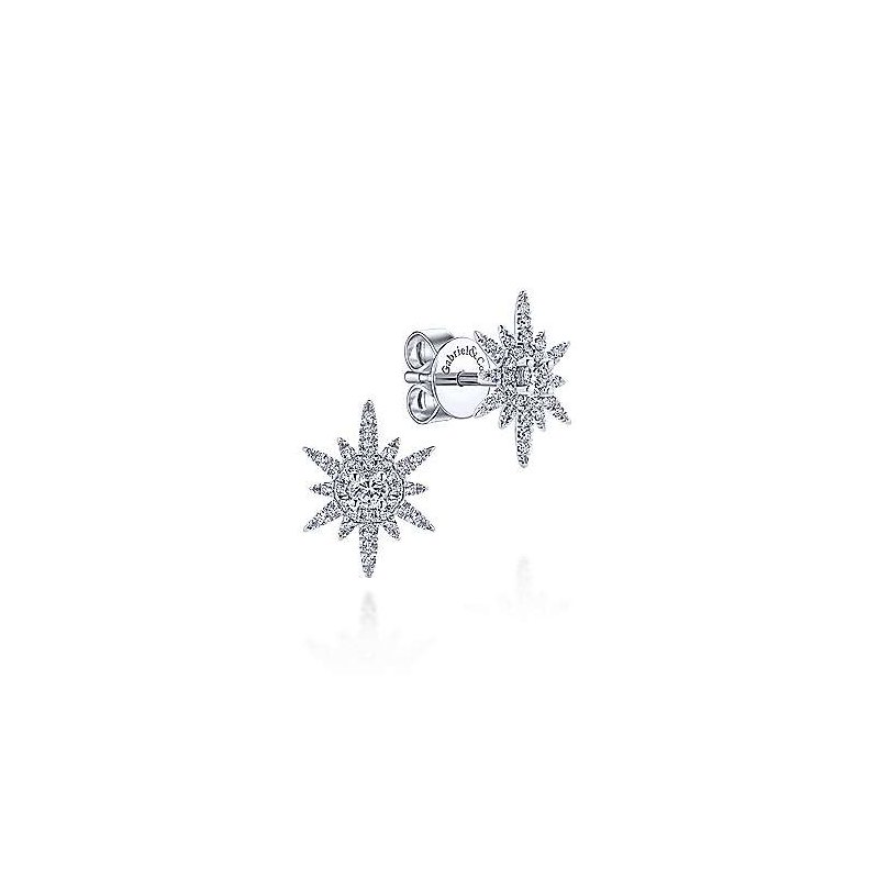 Gabriel & Co. New York Diamond Elongated Starburts Earrings