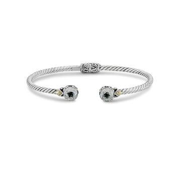 White Topaz Twisted Bangle Bracelet