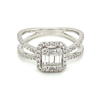Diamond Split Band Ring Round & Baguette