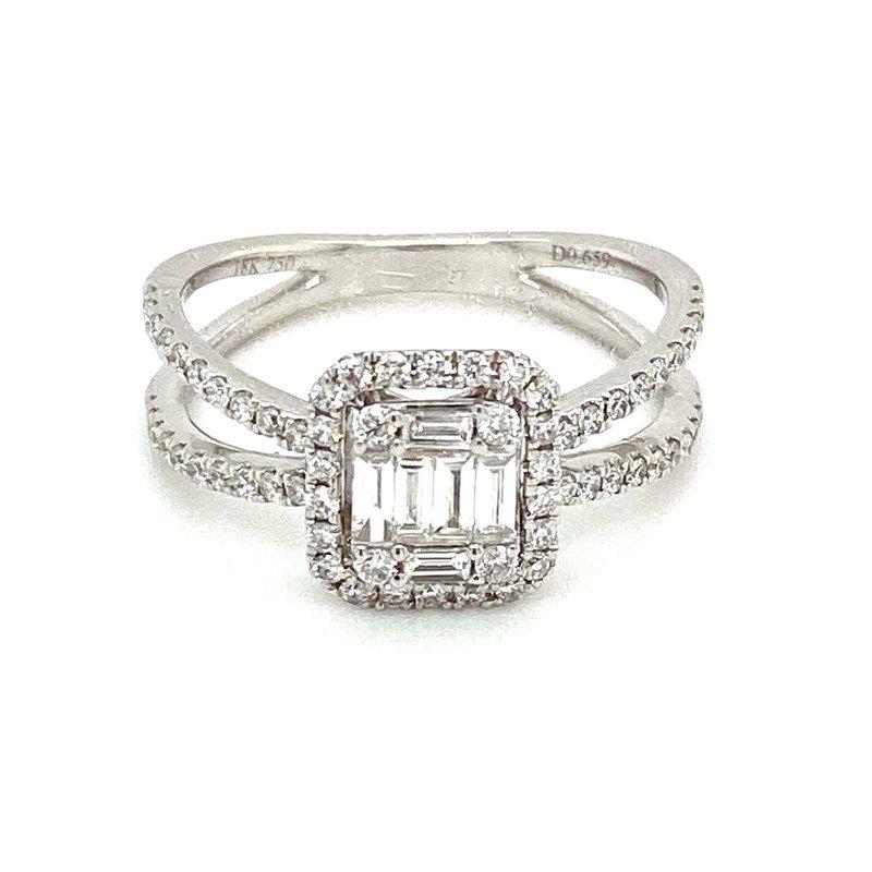 Murphy Pitard Signature Collection Diamond Split Band Ring Round & Baguette