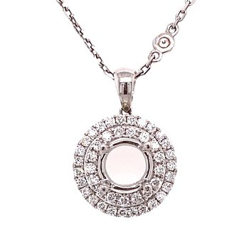 Diamond Round Double Halo Pendant Mounting