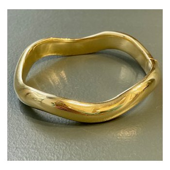 Wavy Polished Gold Bangle