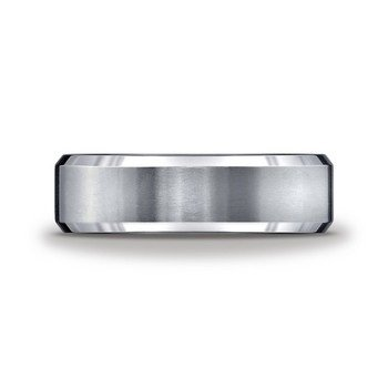 Tungsten Beveled Edge 6 Millimeter Band, Size 9.5