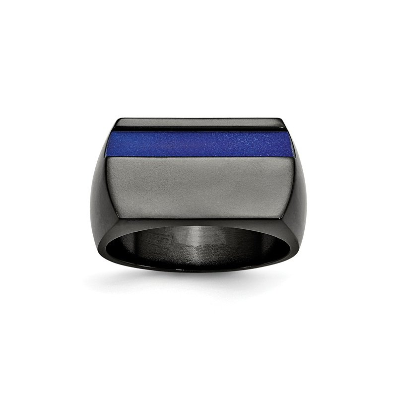 Murphy Pitard Signature Collection Men's Ring Blue Line Titanium