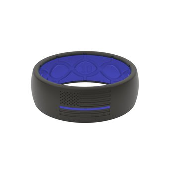 Black & Blue Line Silicone Band - Size 14