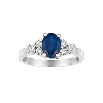 Diamond Accented Oval Sapphire Ring